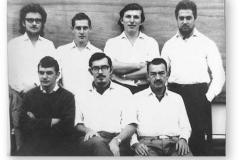 GOUGH 10 (1964-1965): Back (L-R) Evert Scholtz (Meteorologist), Nico Venter (Meteorologist), Willie Taal (Meteorologist), Du Toit Olivier (Radio Technician); Front: Carl Booysen (Radio Operator), Gawie Viviers (Meteorologist/Leader), Jannie Herbs (Medic).