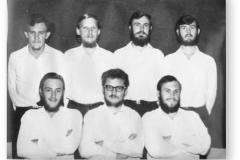 GOUGH 12 (1966-1967): Back (L-R) Piet van der Watt (Meteorologist), Wynand Duiker (Radio Technician), Gerhard Cilie (Meteorologist), Jackie Coetzee (Medic); Front: Philip Strydom (Meteorologist), Evert Scholtz (Meteorologist/Choef Bull Shitter), George Cooper (Radio Operator).