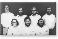 GOUGH 13 (1967-1968): Back (L-R) D. Briedenhann (Medic), J. Bothma (Radio Technician), H. Sandberg (Meteorologist), P. Els (Radio Operator); Front: C. Koch (Meteorologist), C. Hattingh (Meteorologist), T.Potgieter (Meteorologist).