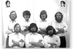 GOUGH 14 (1968-1969): Back (L-R) P.J. van Zyl (Radio Operator), S.G. Glen-Williamson (Meteorologist), A.E.W. Heidstra (Meteorologist), P.W. Sandiford (Radio Technician); Front: J. A. Stergianos (Medic), J.H. Combrink (Leader), G.H. Stocker (Meteorologist Technician); Inset: J.G.S. Seyffert (Meteorologist Technician), A.A.S. Grobler (Radio Technician).