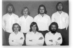 GOUGH 16 (1970-1971): Back (L-R) S.I. Basson (Meteorologist), J. Coetzer (Meteorologist), L.S. Genlloud (Radio Operator), P.J.S. Ludwick (Medic); Front: C.M. Moolman (Meteorologist), A.J. Wannenburg (Senior Meteorologist/Leader), H.J. Fourie (Radio Technician).