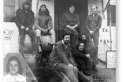 "GOUGH 17 (1971-1972): Back (L-R) Johan van der Merwe (Leader), ""Skull"" Steyn Basson (Meteorologist), ""Petruska"" Petrus Jacobuson (Medic), ""J.C"" Johann Coetzer (Meteorologist); Front: ""Pieter"" Piete van Niekerk (Radio Operator), ""Shorts"" Mauritz Moolman, Pikkie Fourie (Technician); Insert: Les Geulloud (Radio Operator)."