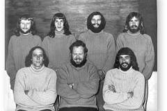 GOUGH 18 (1972-1973): Back (L-R) Mike A. Perks, Jasper M. Hoon, Gideon J. le Roux, Dudley I. Rowswell; Front: Pat H. Vosloo, Chris Hatting, Johan J. Neethling.