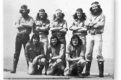 GOUGH 22 (1976-1977): Back (L-R) Rolly Royce(Senior Meteorologist), Eddie Gevers (Meteorologist), Teddy Louw (Diesel Mechanic), Gert Loubser (Meteorologist), Bez Bezuidenhout (Communications); Front: Gerhard Cilliers (Meteorologist), Mac McKnight (Medic), Mike Maurin (Radio Technician/Leader).