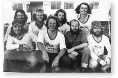 GOUGH 24 (1978-1979): Back (L-R) George Wolvaardt (Meteorologist), Andy Lainis (Meteorologist), Piet van Schalkwyk (Medic), David du Plessis (Meteorologist); Front: Tobie Erasmus (Communications), Pierre Schoeman (Senior Meteorologist/Leader), Robby Pettigrew (Diesel Mechanic), Herman Dormehl (Radio Technician).