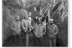 GOUGH 34 (1988-1989): Back (L-R) Jo Daniel (Meteorologist), Hans Möller (Medic), André Meyer (Meteorologist); Front: Daniel van den Heever (Radio Technician), Robin Matthews (Radio Operator), Eugene Burger (Senior Meteorologist/Leader), Philp de Wet (Diesel Mechanic).