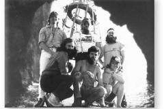 GOUGH 35 (1989-1990): Back (L-R) Fanz Hoffmann (Radio Technician/Operator), Andries Smit (Meteorologist/Leader), Andrew Ainslie (Meteorologist); Front: Greg Mockler (Medic), Riaan Visser (Diesel Mechanic), Frik Gerber (Senior Meteorologist).