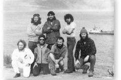 GOUGH 36 (1992-1993): Back (L-R) R. Wilson (Meteorologist), A. Moolman (Radio Technician), P. Reichert (Diesel Mechanic); Front: K. Levey (Senior Meteorologist), W. Stockton (Radio Operator), H. Moller (Medic), S. Worth (Meteorologist).