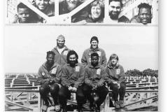 GOUGH 43 (1997-1998): Back (L-R) Andre Combrinck (Medic), Glen Roberts (Senior Meteorologist/Leader); Front: James Kwalepe (Diesel Mechanic), Theuns van Wyk (Radio Technician), Peter Mailula (Meteorologist), Sarien Lategan (Meteorologist).