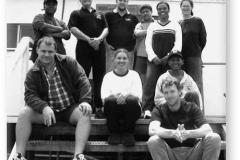 GOUGH 46 (2000-2001): Back (L-R) Pumeza Skepe, Chris Swanepoel, Deryck Yelverton, Piet, Princess, Erica Sommers; Front: Louis Janse van Vuuren, Brigitte, Linda, Richard.