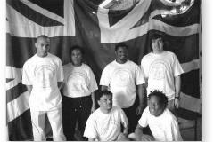 GOUGH 47 (2001-2002): Back (L-R) Lehlohonolo Khesa (Radio Technician), Tshidi Moremi (Meteorologist), Titus Mosweu (Senior Meteorologist), Chris de Beer (Medic/Leader); Front: Micheal Rabotho (Diesel Mechanic), Shadrack Podile (Meteorologist/Deputy Leader).