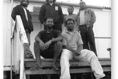 GOUGH 48 (2002-2003): Back (L-R) Gideon Nel (Medic), Chris Swanepoel (Diesel Mechanic/Leader), Daphney Zitha (Meteorologist), Peter Lekalakala (Senior Meteorologist/Deputy Leader); Front: Abner Matlala (Meteorologist), Thulani Ntshanga (Radio Technician).