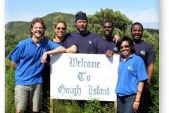 GOUGH 53 (2007-2008): (L-R) Johan Hoffman (Radio Technician), Charlene Oppel (Meteorologist), Sarel Steyn (Diesel Mechanic/Leader), Nkoane Mathabatha (Meteorologist), Mellany McPherson (Senior Meteorologist), Kholekile Cita (Medic/Deputy Leader).