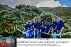 GOUGH 62 (2016-2017): (L-R) Njabulo Mchunu (Diesel Mechanic), Charles Thomas (Team Leader/Electrician), Emma Witcutt and David Kinchin-Smith (Conservation Biologists), Tebogo Saaiman (Deputy Leader/Communications Engineer), Nokwethaba Makhanya and Khunjie Hanabe (Meteorologists), Elias Seabi (Senior Meteorologist), Tom Mc Sherry (Medic); Insert: (L-R) Sakhile Madondo (Communications Engineer) and Paul Lambdon (Senior Conservation Biologist) – both resigned from the island in March 2017.