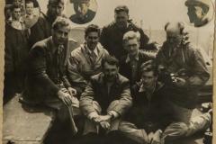 Scientific Survey Expedition (1955 - 1956): Front (L-R) M. Holdgate, P. Mullock; Middle: N. Wace, R. Lemaitre, R. Chambers, J. Hall; Back: M. Swales, J.J van der Merwe; Insert: H. Green, J. Heaney, E. Repetto, J. Laverello, A. Rogers.