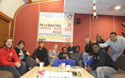 Marion 77 Overwintering team celebrating International Antarctica Day